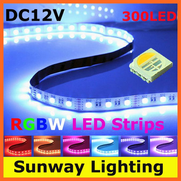4 In 1 SMD 5050 RGBW LED strip lights RGB White flexible LED indoor lighting strips 300 LEDs 5M DC12V + RGBW controller