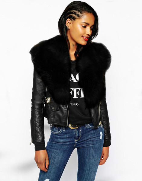 New Women Faux Fur Shawl Biker Jacket Long Sleeve Zip Womens Ladies Leather Coat Jackets Short Mink Coats Winter Black Parka Coats Overcoat