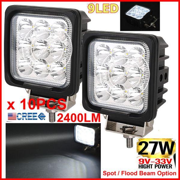"10PCS 4.25"" 27W CREE 9LED*3W Driving Work Light Square Offroad SUV ATV 4WD 4x4 Spot / Flood Beam 12/24V 2400lm Truck Forklift Fog Headlamps"