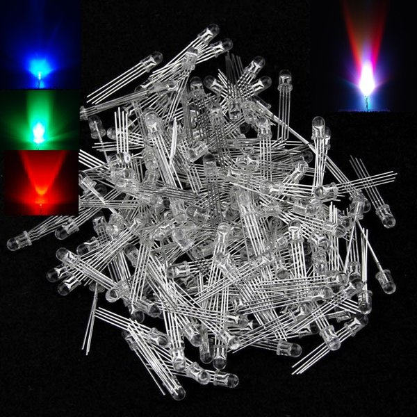 500pcs/lot 5mm RGB LED Common Anode/Common Cathode 4-Pin Tri-Color Emitting Diodes Water Clear Diffused LAMPS Diode Super bright Light
