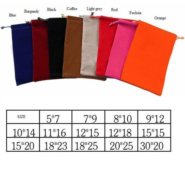 top popular 8 Colors 14 Sizes Velvet Pouches Rings Necklace Earrings Stud Bracelets Bangle Jewelry Gift Packaging Bags 1000pcs can print logo DIY Guest 2020