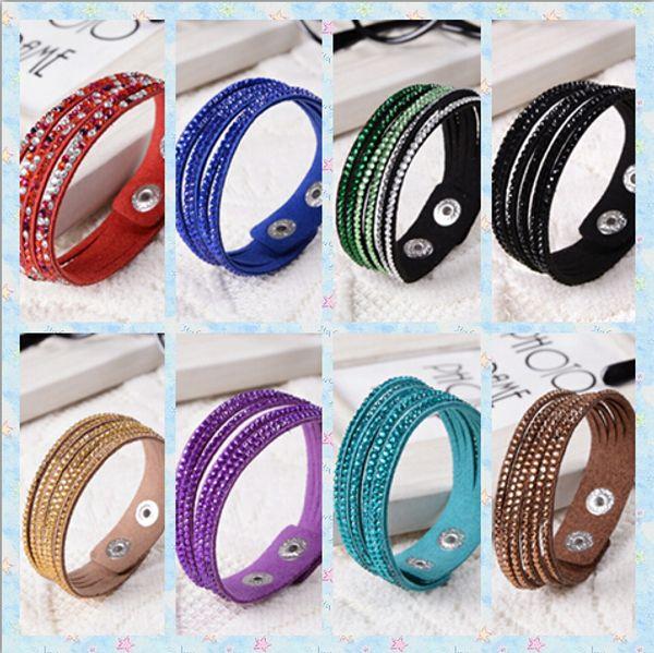 6 layers shining crystal leather bracelets slake bracelet wristbands genuine leather wrap bracelets leather 10pcs/lot