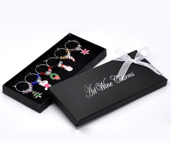 New Year 1Box Wine Glass Charm Pendants Enamel Christmas Wine Glass Marker Mixed Christmas Wedding Party Decoration