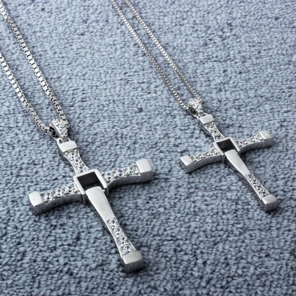 Women New 925 Sterling Silver Cross Pendant Choker Necklace Fast & Furious 7 Jewelry For wholesale Free Shipping