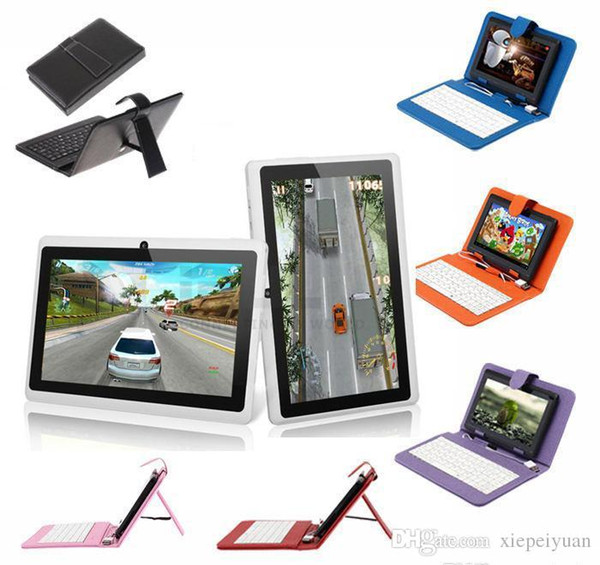 """top popular Q8 7"""" Android 4.4 8GB Tablet PC A33 Quad Core Dual Camera 512MB Capacitive WIFI Tablet Bundle 7"""" USB Leather Keyboard Case 2pcs 2019"""