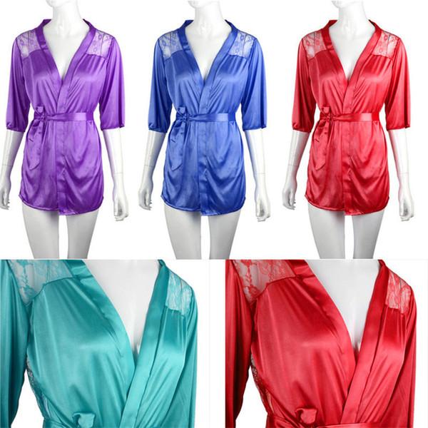 c36e8a4fb4903 w1022 Лучший Продавец женщины Сексуальная атласная кружева халат пижамы  белье ночная рубашка стринги пижамы ночное эротическое