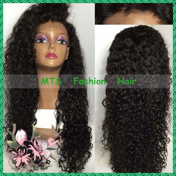 Fashion Women Kinky Curly Lace Wig Virgin Brazilian Hair Lace Front Wigs Side Part Full Lace Human Hair Wigs Natural Look
