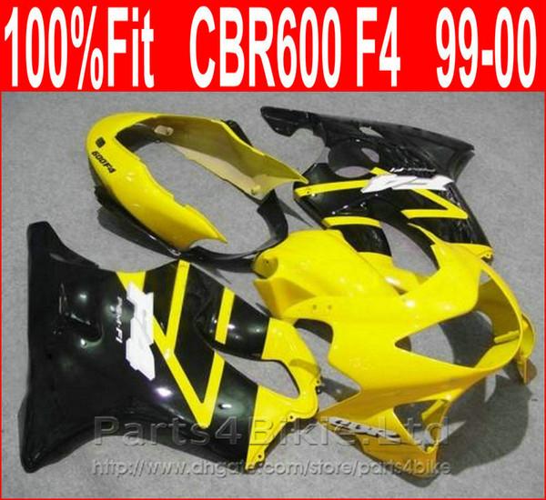 Personifizieren Sie KörperReparaturteile für Honda CBR600 F4 99 00 gelb schwarze Verkleidung CBR 600 F4 1999 2000 Verkleidungskits DXUV