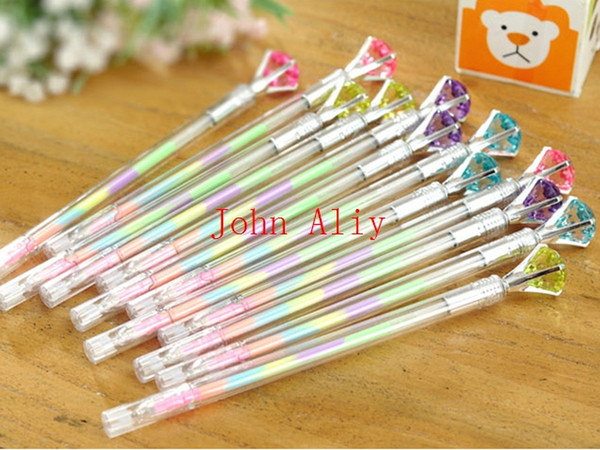top popular Free shipping Cute Colored Crystal Diamond Gel Pens 0.38mm Multi Color Rollerball Pen Set School Office Supplies Hot sale 2019