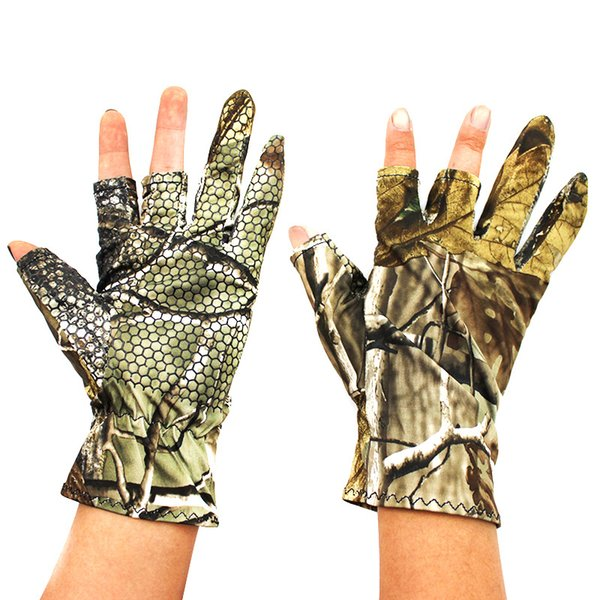 Professional Fishing Gloves Outdoor Sports Camo 3 Fingers Cut Men Camouflage Glove Soft Warm Anti-slip Waterproof