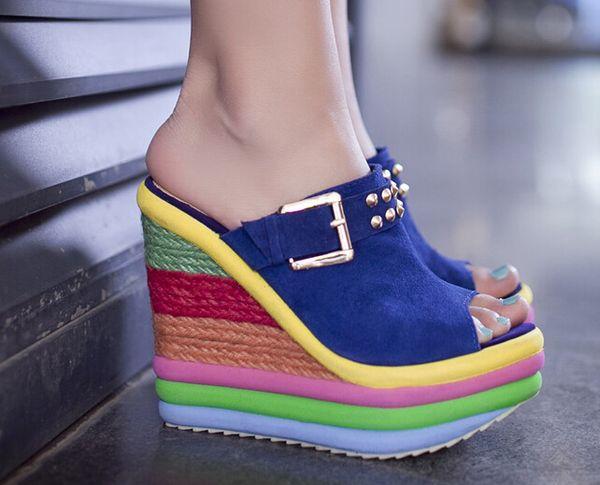 2015 women sandals platform high heel flip flops genuine leather Wedges slippers fashion brand shoes woman high quality