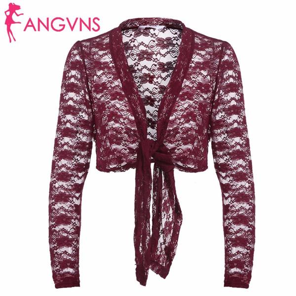 Wholesale- ANGVNS Women Lace Open Stitch Cardigan 2017 New Autumn Ladies Black Long Sleeve Lace Up Floral Bolero Crop Short Jacket Outwear