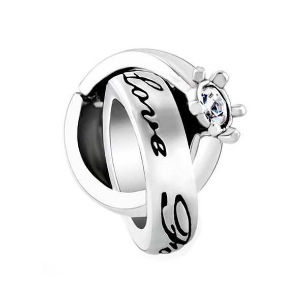 Clear White Elements Crystal Interlinked Ring Love Forever Bead April Birthstone Charms European Fit Pandora Bracelet