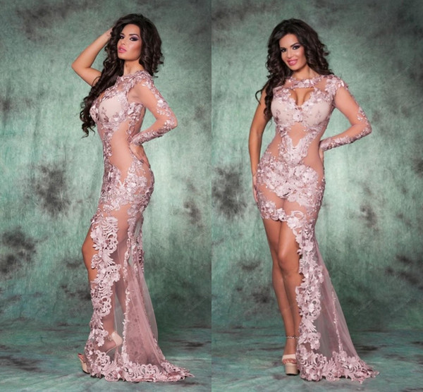 Sexy High Low Pink See Through Evening Dresses Sheath One Long Sleeves Party Gowns 2016 Spring Lace Appliques PROM Gowns