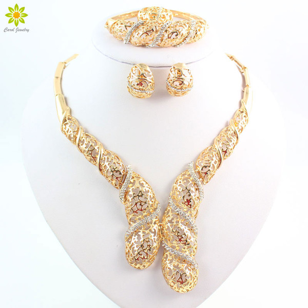 Dubai Wedding Fine Jewelry African Costume Jewelry Set 18k Gold Plated Bridal Jewelry Sets Party Earring And Necklace Sets