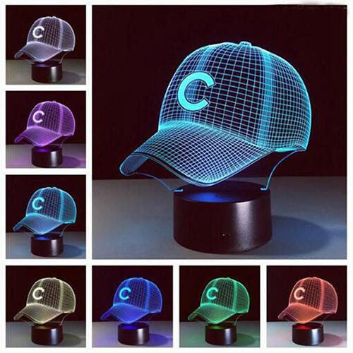 baseball Hat 3D Night Light 7 Colors Changing LED Table Lamp 3D Child Boy Gift
