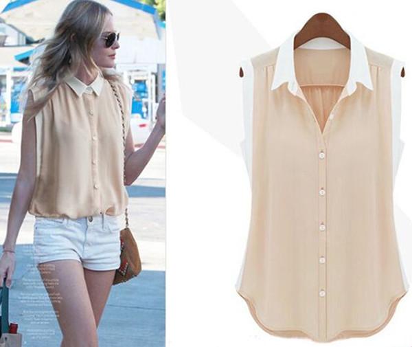 mulheres roupa feminina sem mangas grande código splicing chiffon 2015  verão t-shirt neve solta 72e4e2599fdff