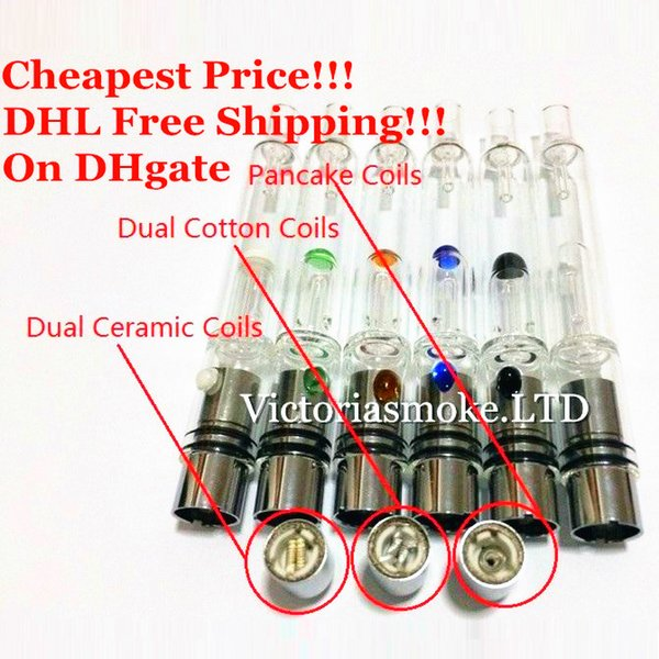 Cheapest DHL Glass Hookah atomizer vhit atomizer tank Dry Herb Wax Vaporizer herbal vaporizers pen water filter pipe ecig e cigarette bongs