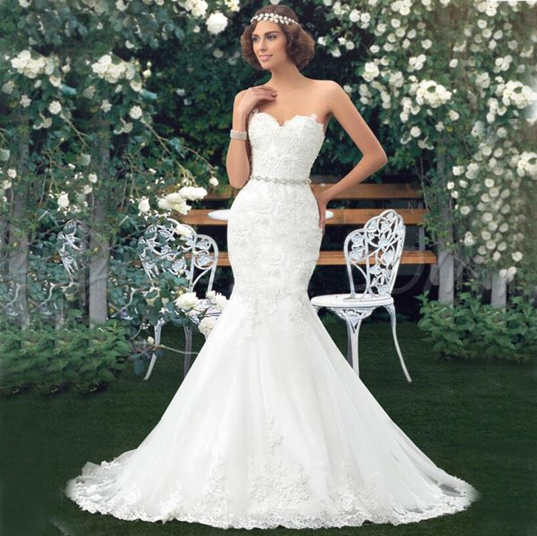 Cheap Mermaid Lace Wedding Dresses Bridal Gowns With Detachable ...