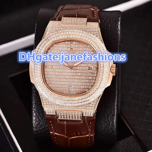 Men's sports watches Rose Gold Diamond watchcase real leather strap sapphire dial carved machine 2813 luxury brand full diamonds watches