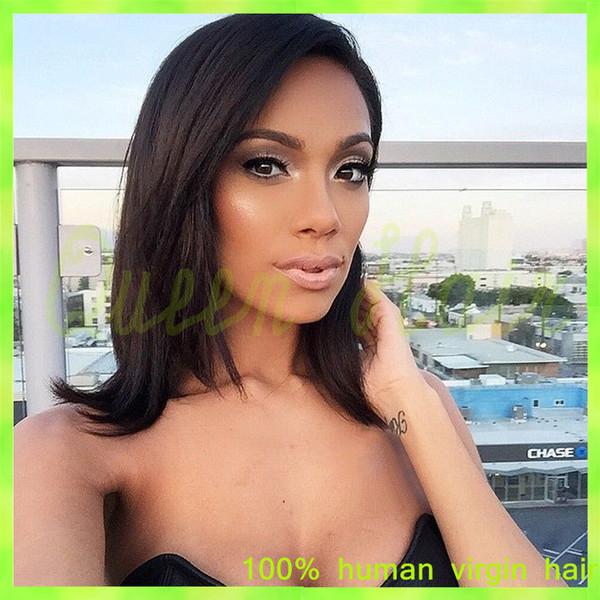 7A Short Brazilian Human Hair Bob Lace Front Wigs With Bangs Unprocessed Full Lace Human Hair Wig For Black Women Bob Cut Wigs