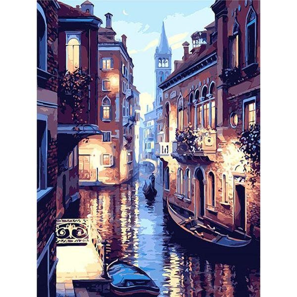 Venecia sin marco paisaje nocturno bricolaje pintura al óleo digital por números Europa pintura abstracta de la lona para salón arte de la pared 40x50cm