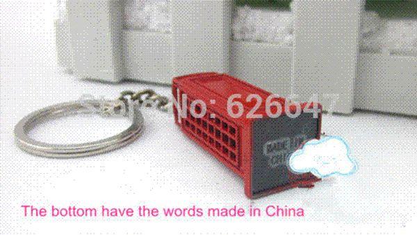 HK post free shipping 20pcs/lot Red Telephone Booth keychain British style souvenir KeyChain key Ring keyfob 3d model key chain