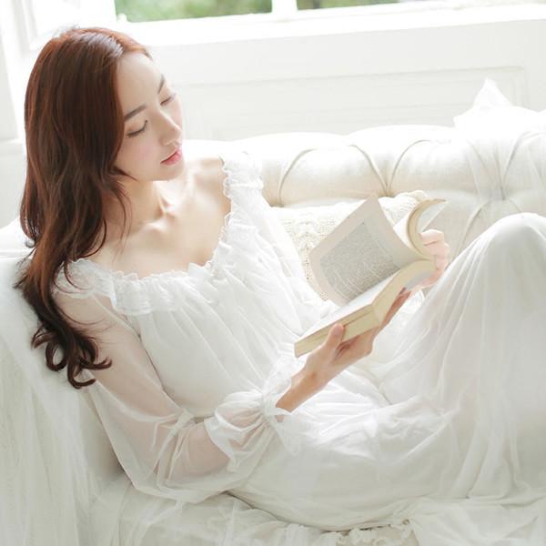 Princess Nightgown Women summer Long-sleeved Sleepwear Retro Translucent Lace Sress Sexy Ice Silk Nightwear Plus Size