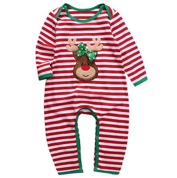 Vestiti del bambino di Natale Pagliaccetti Pigiama a strisce Pagliaccetto da notte Paglia manica lunga Tute di cotone Abbigliamento per neonati Neonati Vestiti per ragazze