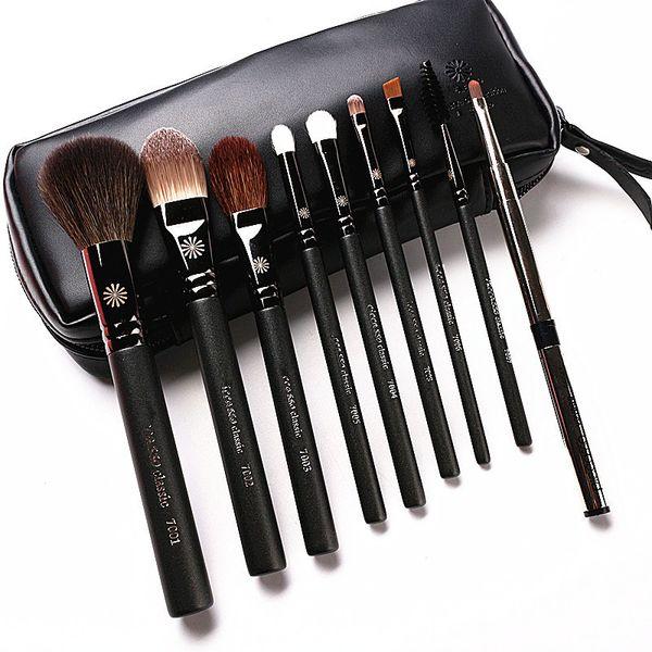 High End Estilo Coreano 9 pçs / set Pincéis de Maquiagem Profissional Perolado Lidar Com Cabra de Cabra Compõem Kit Escova Com Caixa De Couro Presente