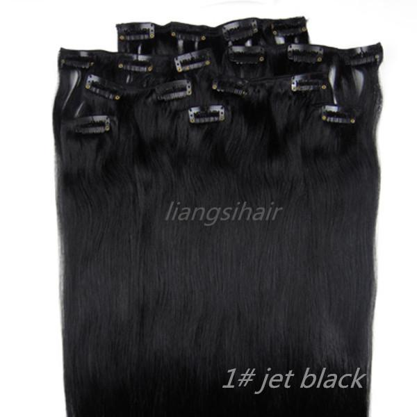 "7A Straight Clip in Hair Extensions 18""-26"" 80g 100g 120g 8pcs 1# Jet Black Brazilian Indian Peruvian Malaysian Virgin Remy Human Hair"