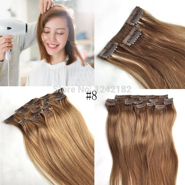 Light Brown Virgin Remy Hair Clip In Human Hair Extension 7pcs lot Full head Set 100% Certified Human Hair Clip in Extensions