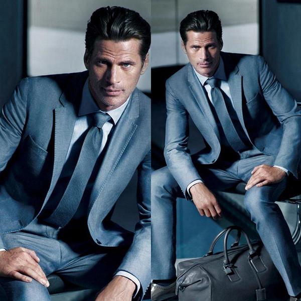 Custom Slim Fit Blue Mens Suits Notched Lapel Mens Tuxedos Wedding ...