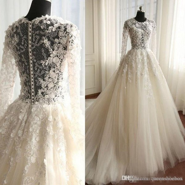 Discount Illusion Lace Wedding Dress Romantic Ivory Tulle Vintage ...