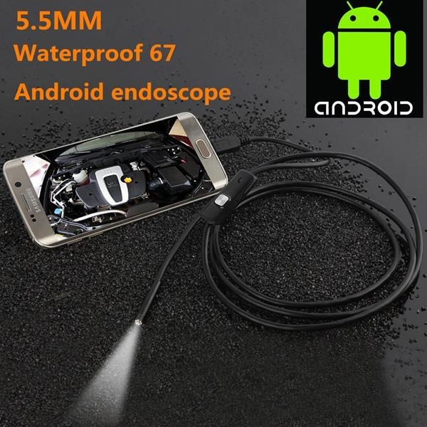 top popular Portable 1M Cable 5.5mm Lens Waterproof Mini USB Endoscope Inspection Camera Borescope Tube Snake Scope 6-LEDs in retail box 2019