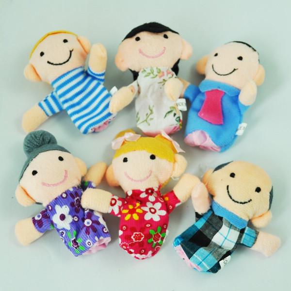 best selling 180pcs lot Velvet Family Finger Puppet 6 people Cloth toy helper doll Soft Plush Educatfor dolls