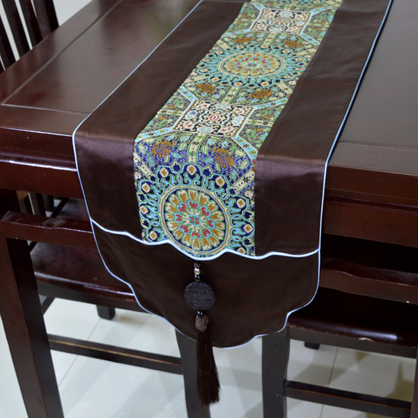 New Wave Patchwork Jade Table Runners High End Luxury Chinese Real Silk Brocade Tea Table Cloth for Wedding Festive Decoration