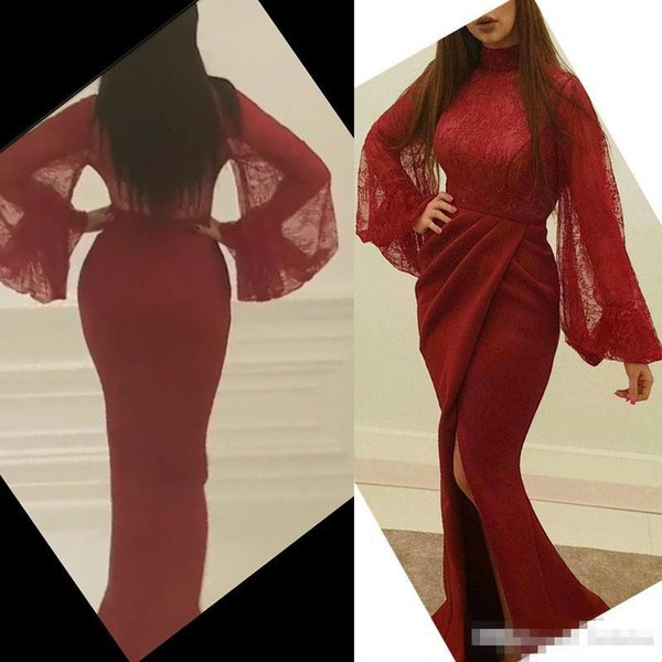.Glamorous Mermaid Evening Dresses Sexy Burgundy High Neck Illusion Long Sleeves Lace Body High Slits Pleated Sweep Train Prom Party Dress