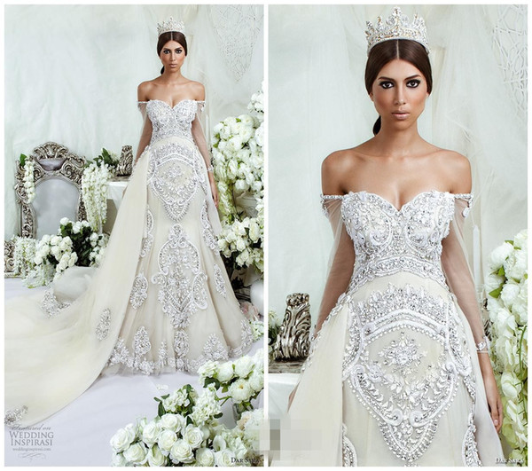 2016 Dar Sara Mermaid Wedding Dresses Bridal Gowns Backless Crystals ...