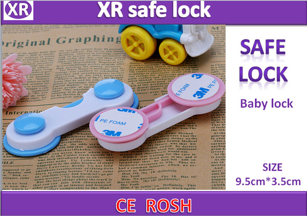 New 2016 Child Security cabinet lock folder pinch hand children's products safety lock / unlock pair pink blue color 9.5cmx3.5cm ship fast