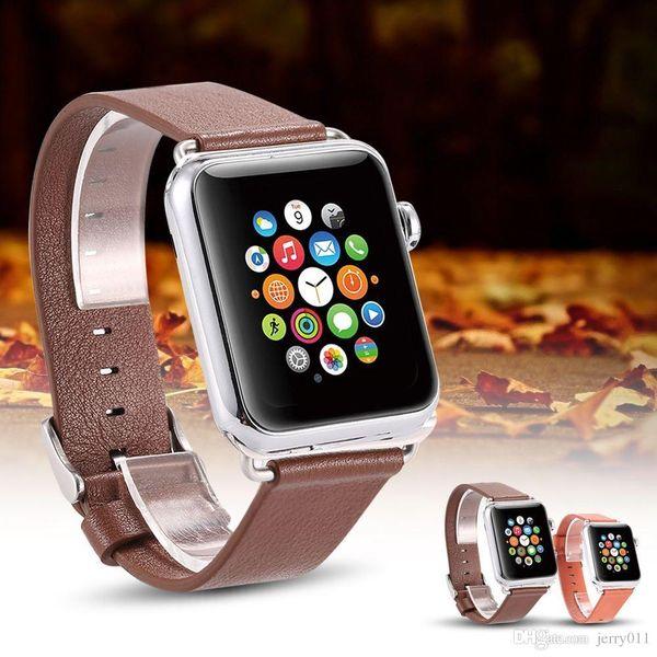 Apple iWatch Için hakiki Premium PU Deri WatchBand Kayışı Toka Apple Ürün Için Paslanmaz Çelik Ile 38mm Siyah Kahverengi