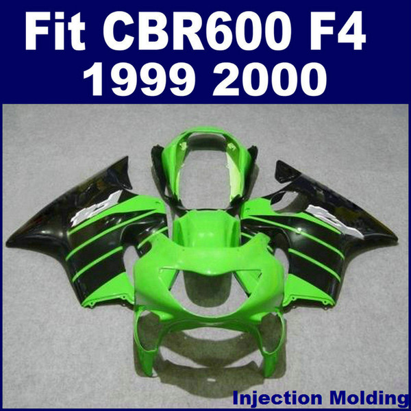 100% Injection molding parts for HONDA CBR 600 F4 1999 2000 black green full fairing kit 99 00 CBR600 F4 fairing sets VBGH