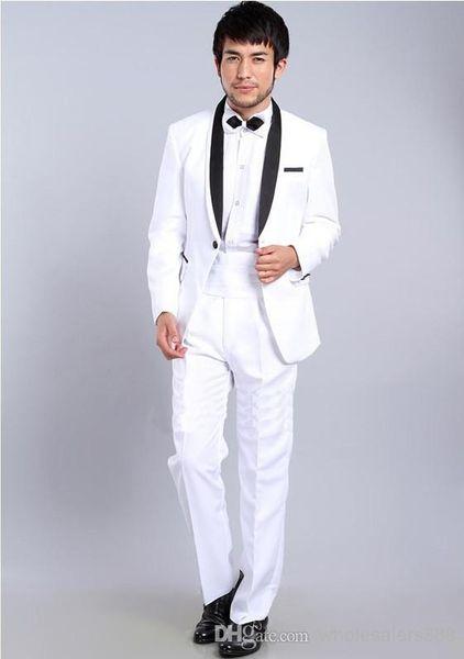 Slim Fit White One Button Groom Tuxedos Shawl Black Lapel Best man Groomsman Men Wedding Suits Bridegroom (Jacket+Pants+Tie+Girdle)