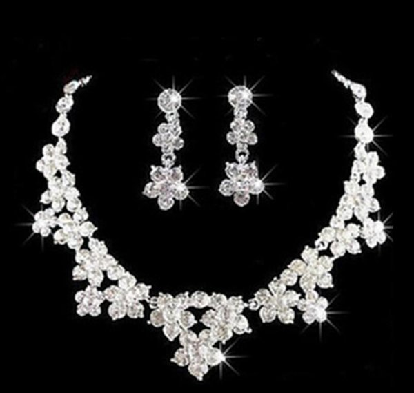 Wedding Jewelry Shining New Cheap 2 Sets Rhinestone Bridal Jewelery Accessories Crystals Necklace and Earrings for Prom Pageant Party