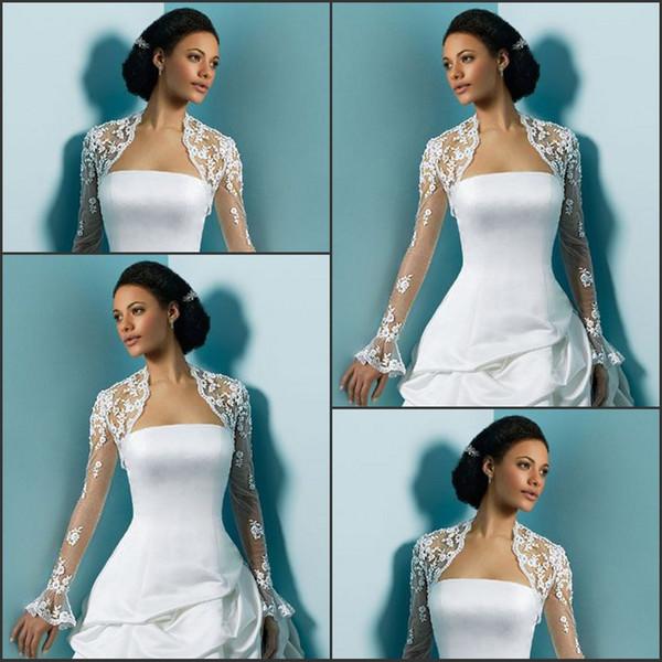 best selling Most Popular Long Sleeves Bridal Jackets Appliques Tulle Custom Short Wedding Jackets Bolero Bridal Accessories In Stock