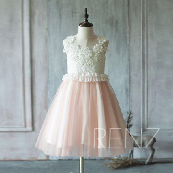 2020 white Junior Bridesmaid Dress, peach Skirt Flower Girl Dress, Rosette dress, Ruffle Puffy dress