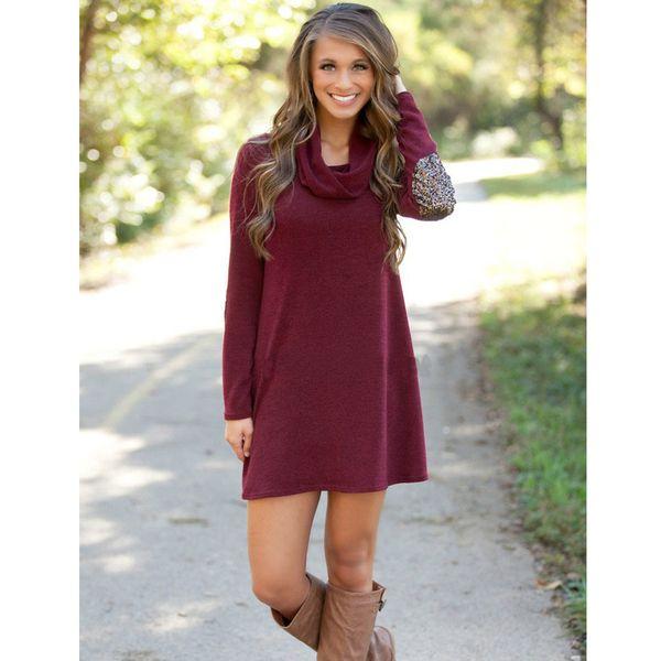 Wholesale 2016 Plus Size Dress Womens Burgundy Turtle Neck Long ...