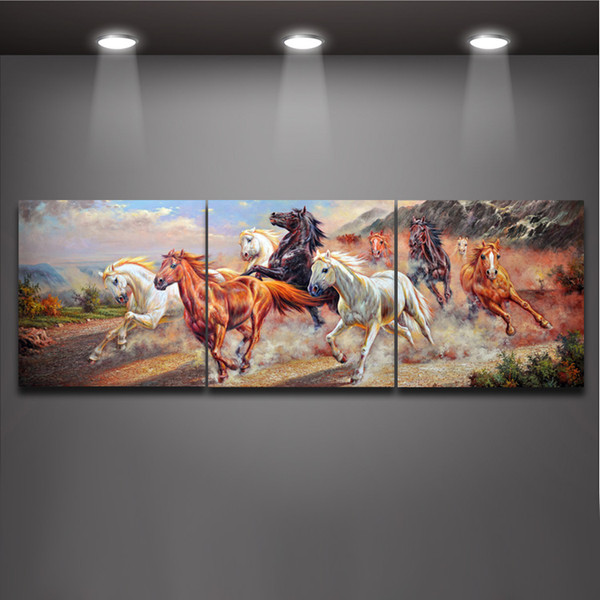 Running Horses Chinese style Oil Painting Mural Art Printed on Canvas Modern 3 Panels Picture for Home Living Office Wall Decor