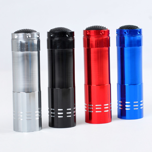 Portable 9 LED Mini LED Flashlights Super Bright LED Lampe de poche Camping en plein air Noir