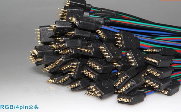 top popular Wholesale-50 set lot 4 PIN Male and Female RGB connector Wire Cable For 3528 5050 SMD LED Strip A0130 2021